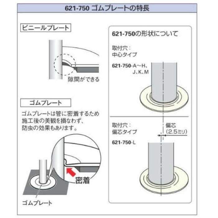 621-750-L 配管穴カバー用プレート ゴムプレート