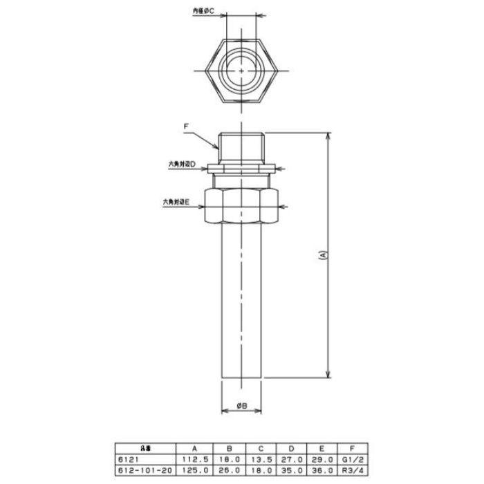 612-101-20 水道メーター接続ナット KBニップル