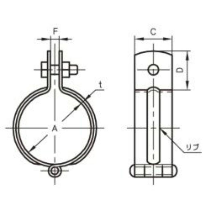 A10198 ステンレス鋼管用 吊バンド SUS304製 20A