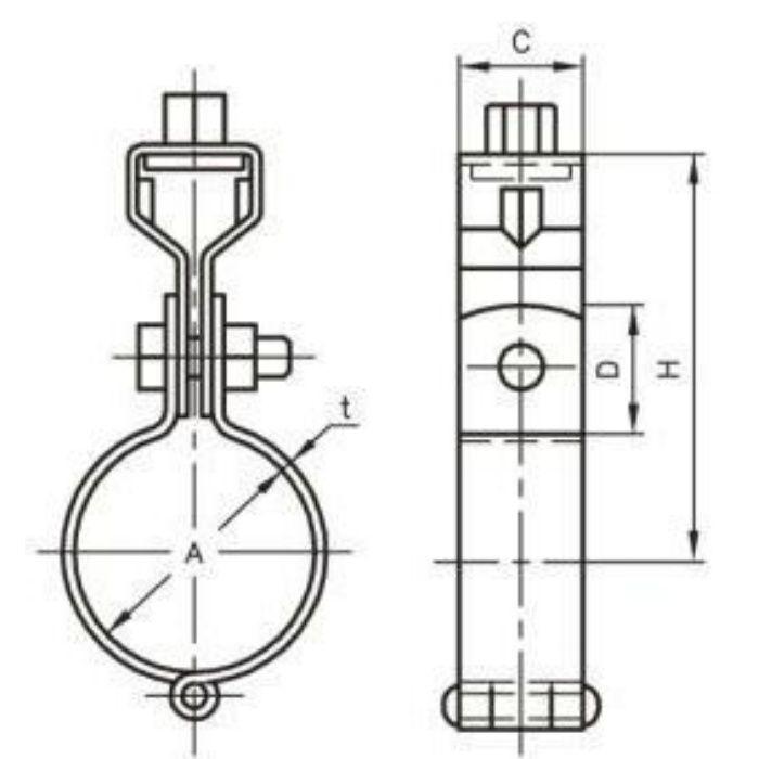 A10203 CL 吊バンド タン付 SUS304製 100A