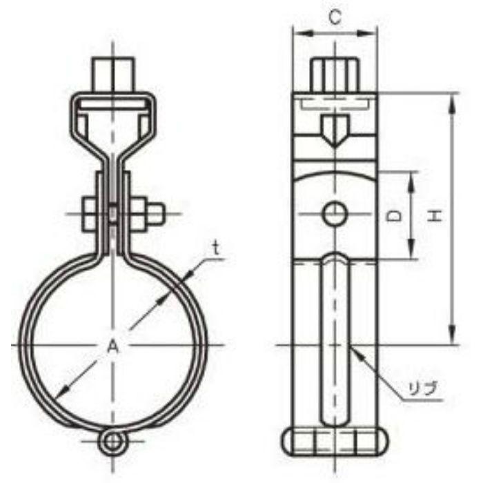A10199 ステンレス鋼管用 吊バンド タン付 SUS304製 125A