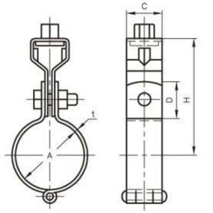 A10166 TN 耐火二層管用 吊バンド タン付 150A