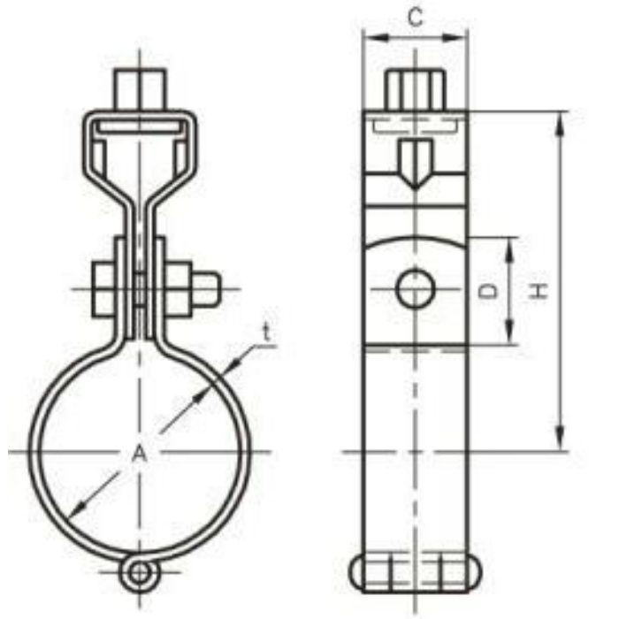 A10208 TN 耐火二層管用 吊バンド タン付 SUS304製 75A