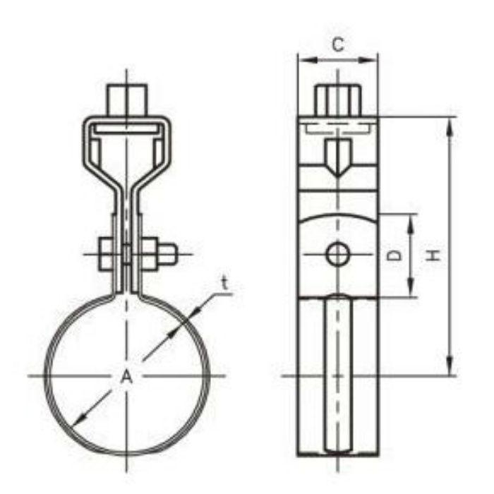 A10158 VP管用 吊バンド タン付 100A
