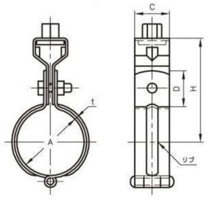 A10221 ドブメッキ 吊バンド タン付 125A