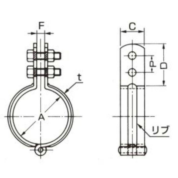 A10349 ステンレス鋼管用 立バンド SUS304製 50A