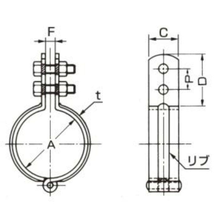 A10349 ステンレス鋼管用 立バンド SUS304製 90A
