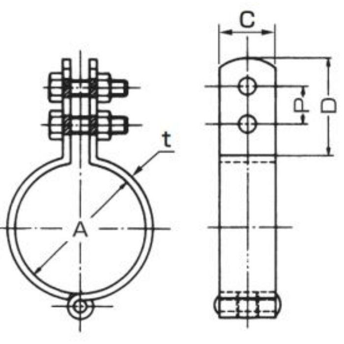 A10336 TN 耐火二層管用 立バンド 40A