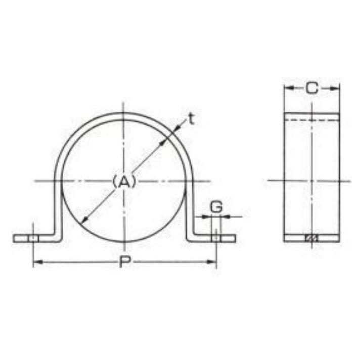 A10454 ステンレス鋼管用 厚サドルバンド (ボルト穴) SUS304製 40A