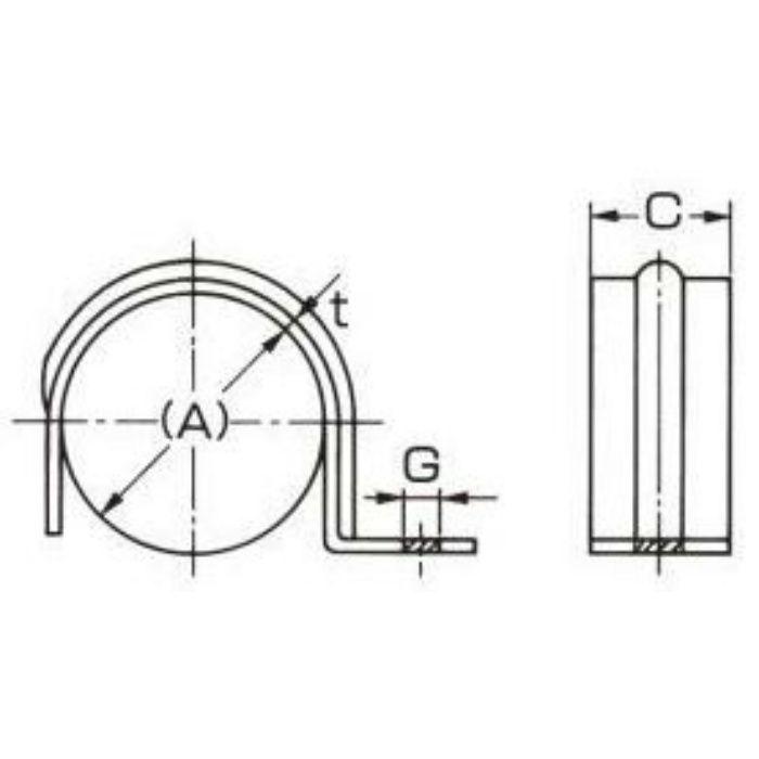 A10436 リブ付 片サドルバンド (長穴タイプ) 15A