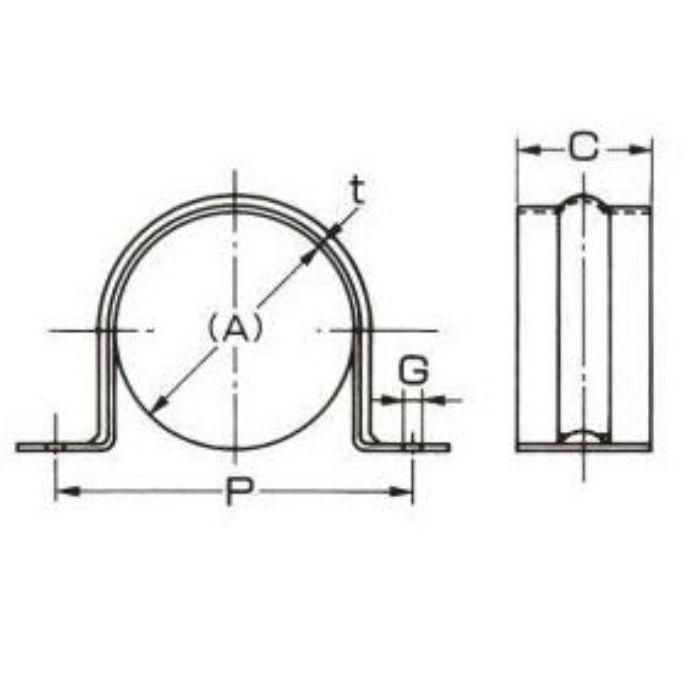 A10452 ステンレス鋼管用 サドルバンド SUS430製 40A