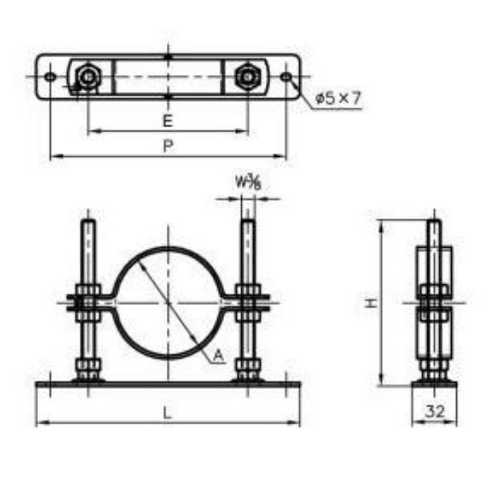 A13577 TN (耐火二層管用)セットフロアーナット付プレート 50×150H