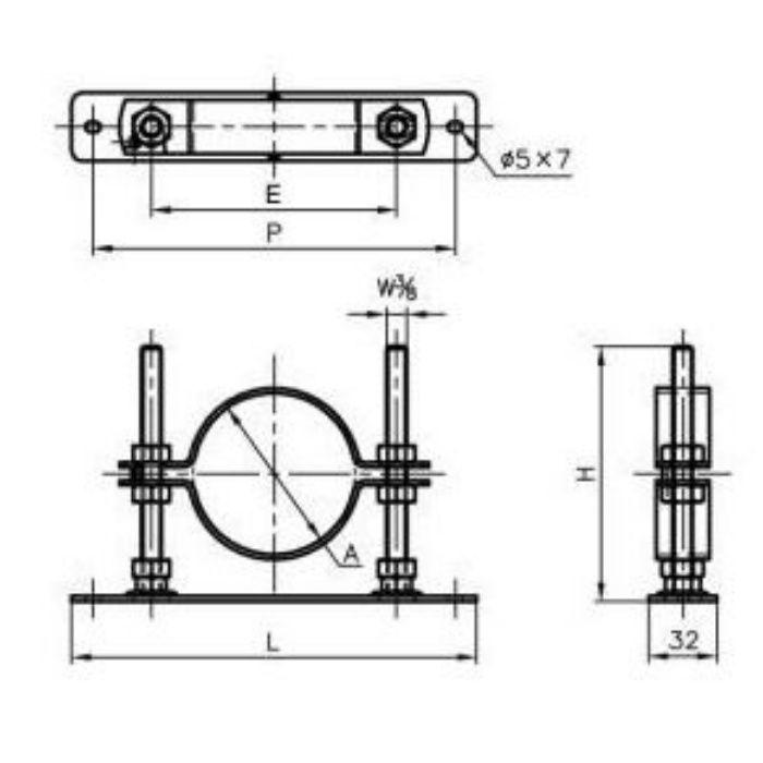 A13576 セットフロアーナット付プレート 32A×120H