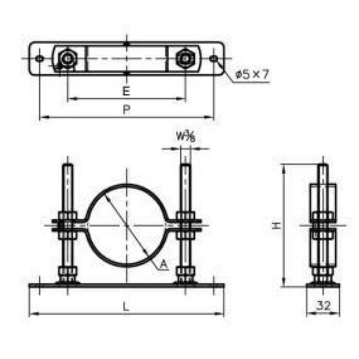 A15956 ステン セットフロアーナット付プレート 15A×150H