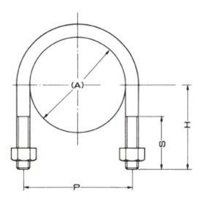 A10597 Uボルト (SGP管用) 200A×1/2
