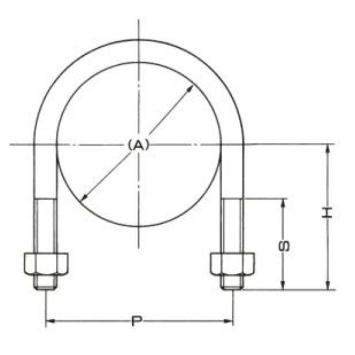 A10632 ドブメッキ Uボルト (SGP管用) 125A