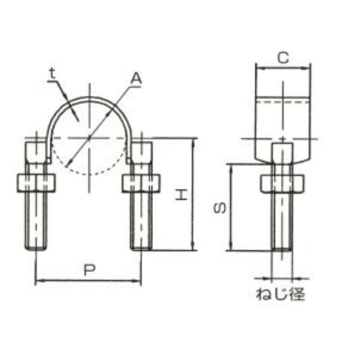 A10618 UバンドSUS (ステンレス鋼管厚肉管用) 20A