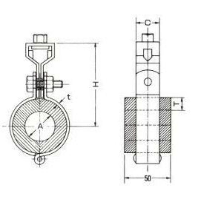 A10636 ウレタン 吊式 (AGタイプ) 保温厚30mm 50A