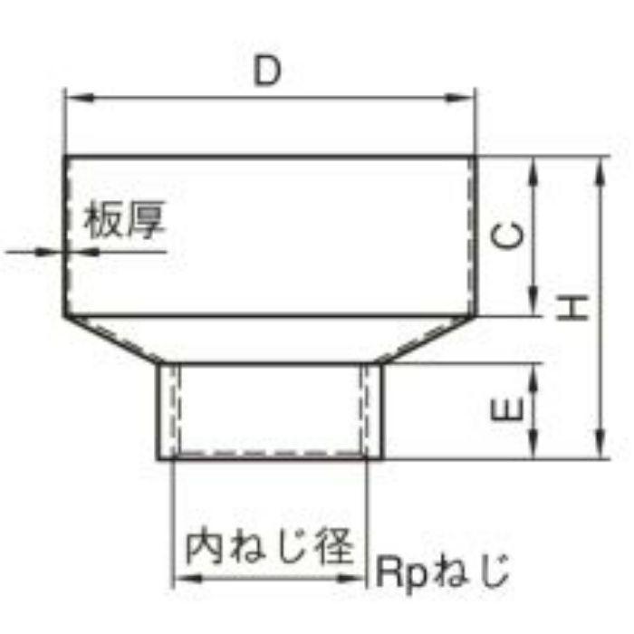 A10684 A型ホッパー 内ネジ (SUS304) 50A×150