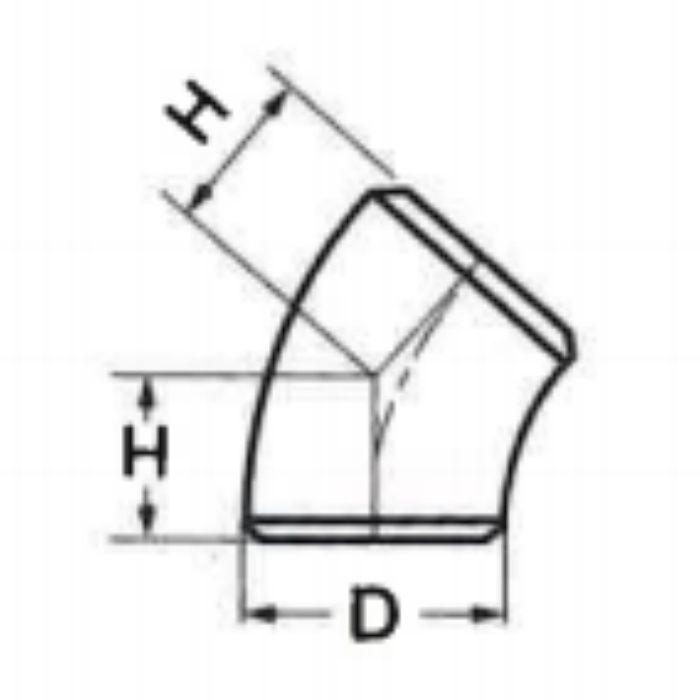 M-30445L SUS304 低圧ネジ込  45°ロングエルボ 32A