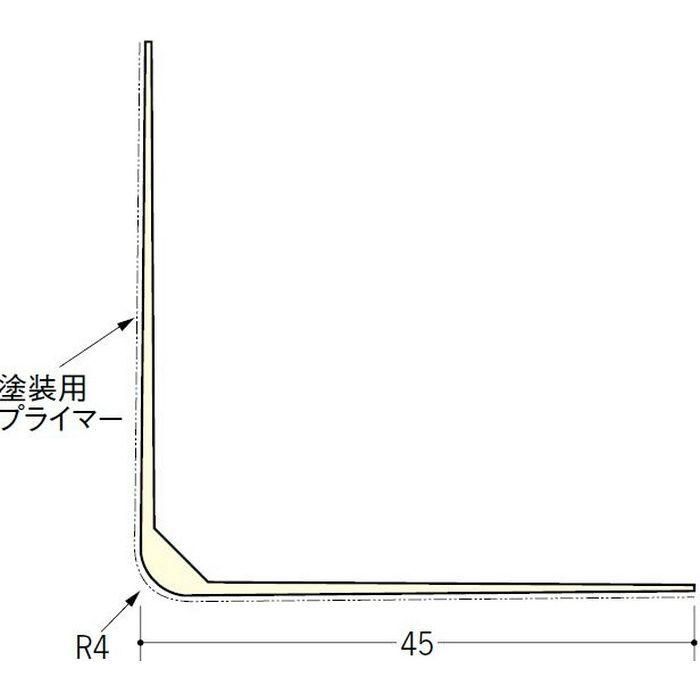 ペンキ・クロス下地材 出隅 ビニール L型コーナー45プライマー付 ミルキー 3m  01233-2