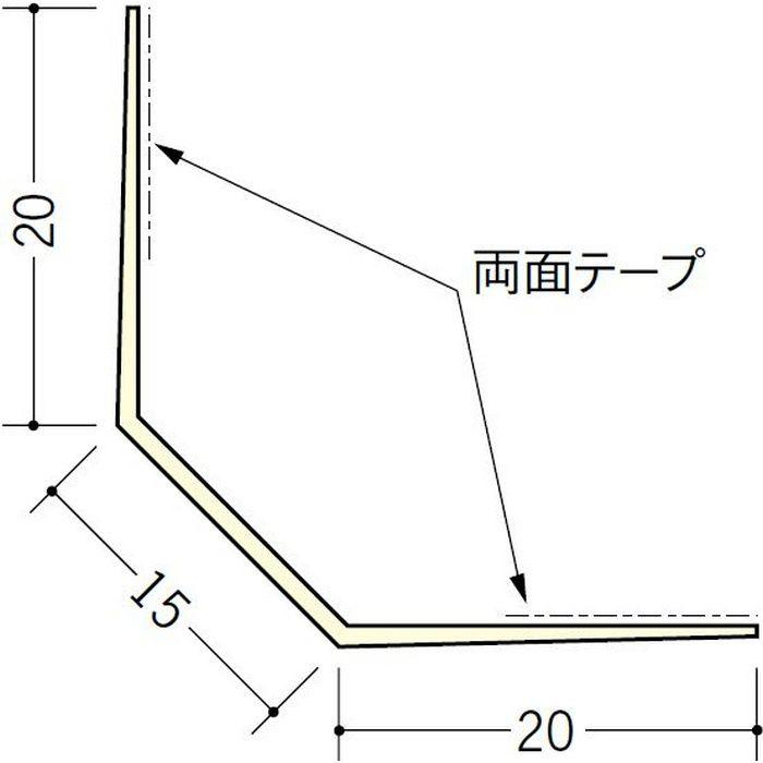 ペンキ・クロス下地材 出隅 ビニール 面取ボードコーナー15テープ付 ミルキー 3m  01137-2