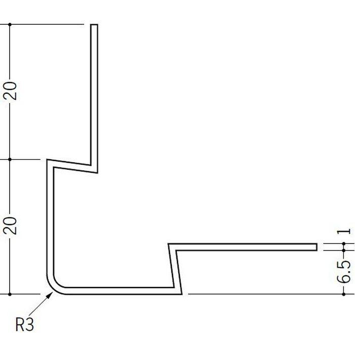 ペンキ・クロス下地材 出隅 ビニール イカ3R-6mm ホワイト 2.73m  37106