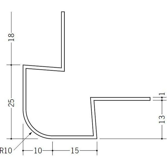 ペンキ・クロス下地材 出隅 ビニール タコ10R-13mm ホワイト 2.73m  37124