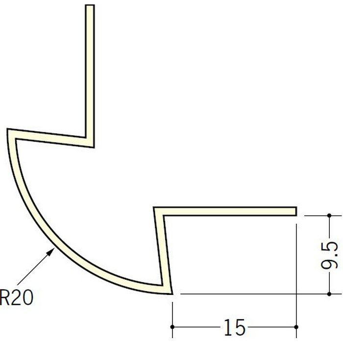 ペンキ・クロス下地材 出隅 ビニール 丸面20R-9.5mm用 ミルキー 2.5m  01183