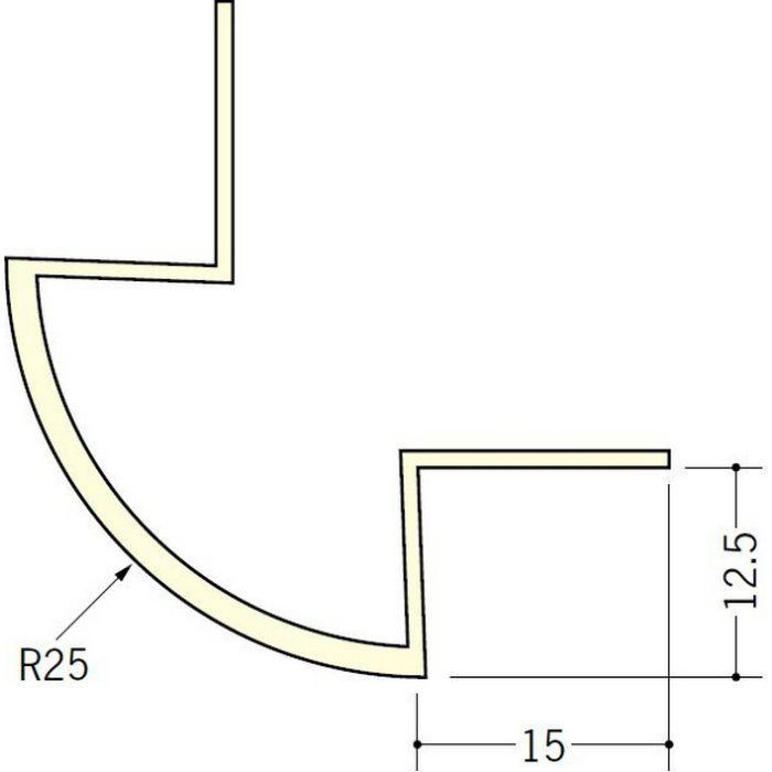 ペンキ・クロス下地材 出隅 ビニール 丸面25R-12.5mm用 ミルキー 2.5m  01084