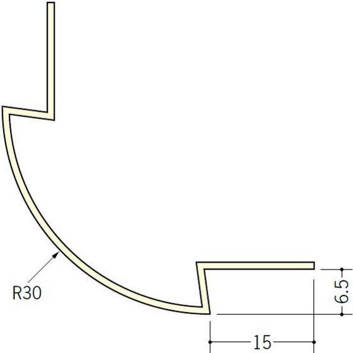 ペンキ・クロス下地材 出隅 ビニール 丸面30R-6.5mm用 ミルキー 2.5m  01186