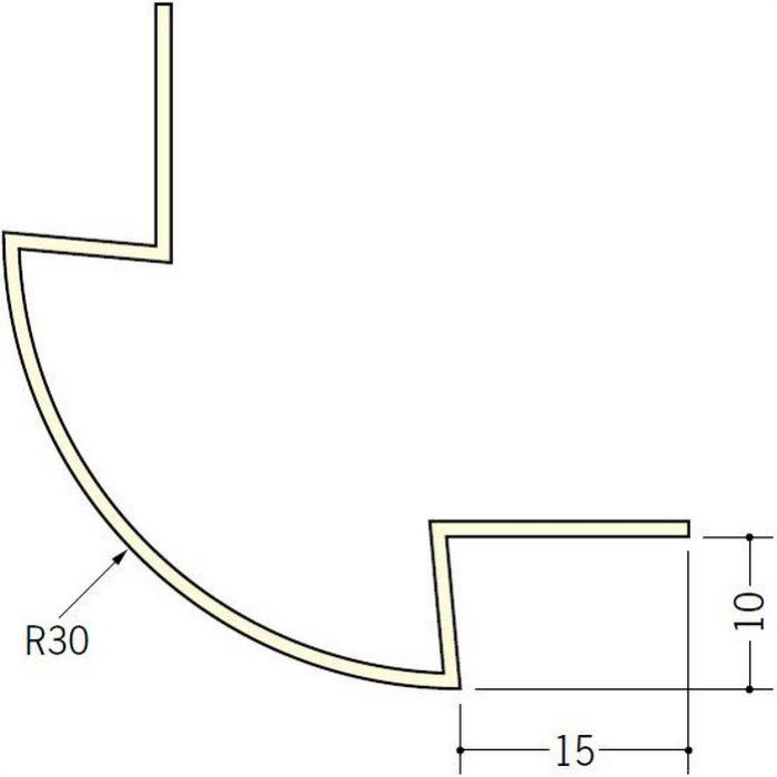 ペンキ・クロス下地材 出隅 ビニール 丸面30R-10mm用 ミルキー 2.5m  01187