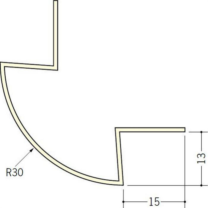 ペンキ・クロス下地材 出隅 ビニール 丸面30R-13mm用 ミルキー 2.5m  01188