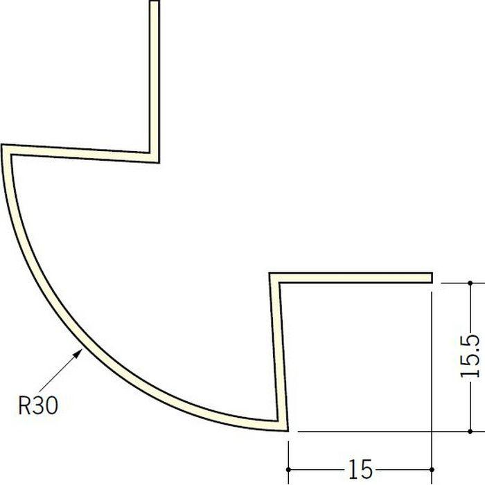 ペンキ・クロス下地材 出隅 ビニール 丸面30R-15.5mm用 ミルキー 2.5m  01189