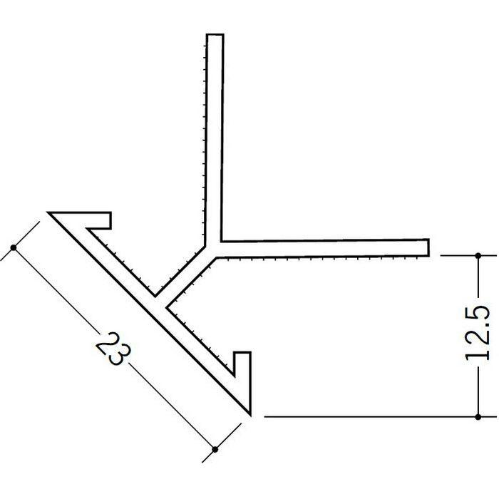 ペンキ・クロス下地材 出隅 ビニール 23面取コーナー 12mm用 ホワイト 2.5m  01035