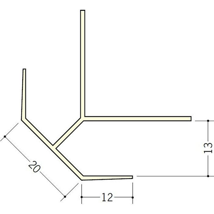 ペンキ・クロス下地材 出隅 ビニール 20面取コーナー 12mm用 ミルキー 2.5m  01033