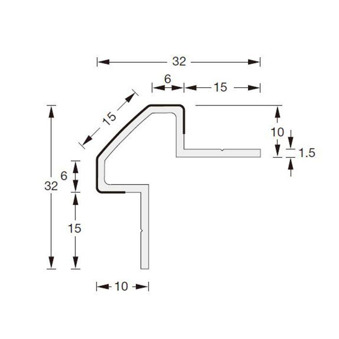 メタブライトMBコーナータイプ MB-15コーナー ヘアーライン 長さ3000mm 1本