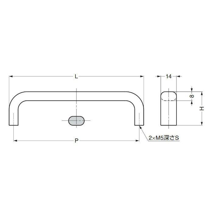 ランプ印ステンレス鋼製ハンドルEC型 EC-180M 100-010-049