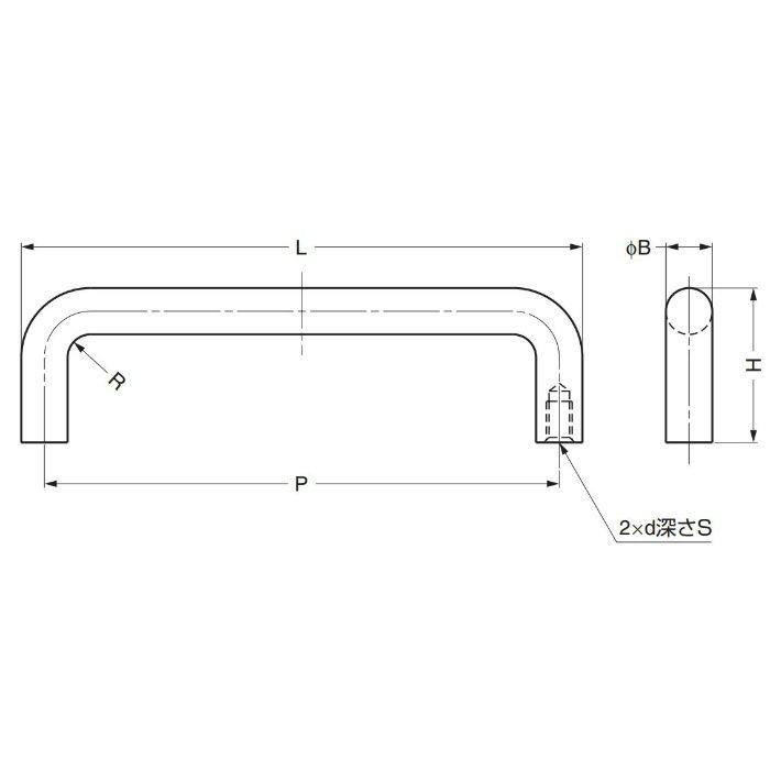 ステンレス鋼製ハンドルH-42-C型 H-42-C-14 100-010-562