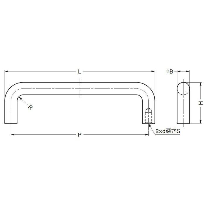 ランプ印チタン合金製ハンドルH-42-CT型 H-42-CT-2 100-010-352