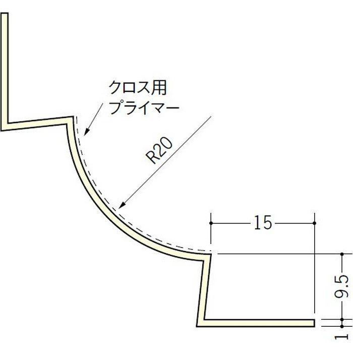ペンキ・クロス下地材 入隅 ビニール 丸面入隅20R-9.5A ミルキー 2.5m  01272