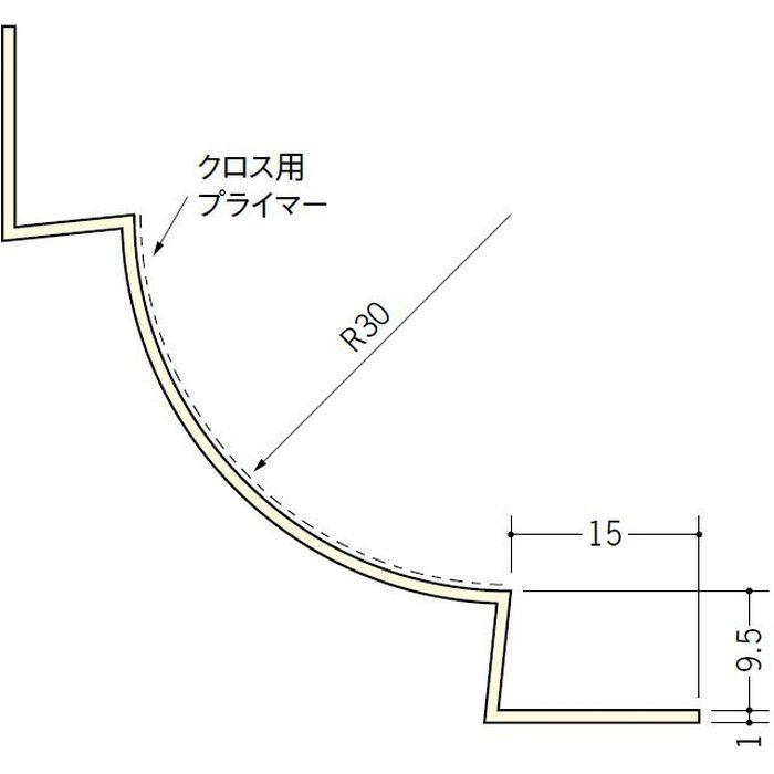 ペンキ・クロス下地材 入隅 ビニール 丸面入隅30R-9.5A ミルキー 2.5m  01276