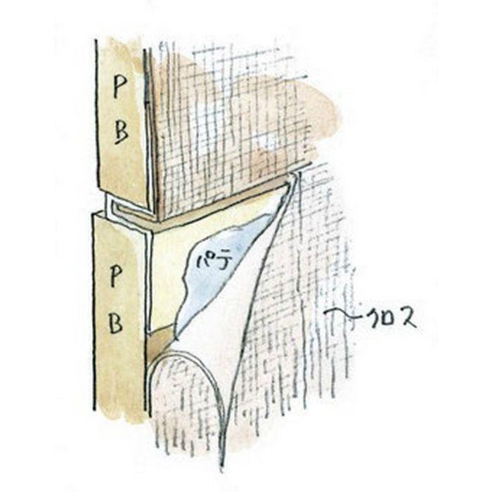ハット目地2穴あき+テープ付 ミルキー 3m 37136-2