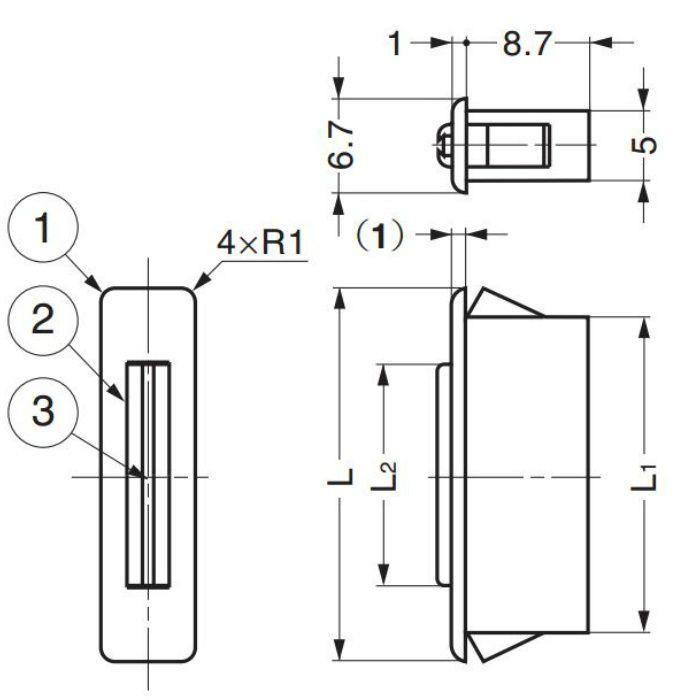 ランプ印薄型マグネットキャッチMC-FS型シングルヨークタイプ MC-FS-4W 140-013-015
