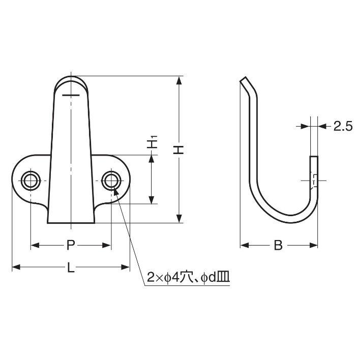 ランプ印ステンレス鋼製フックハ...