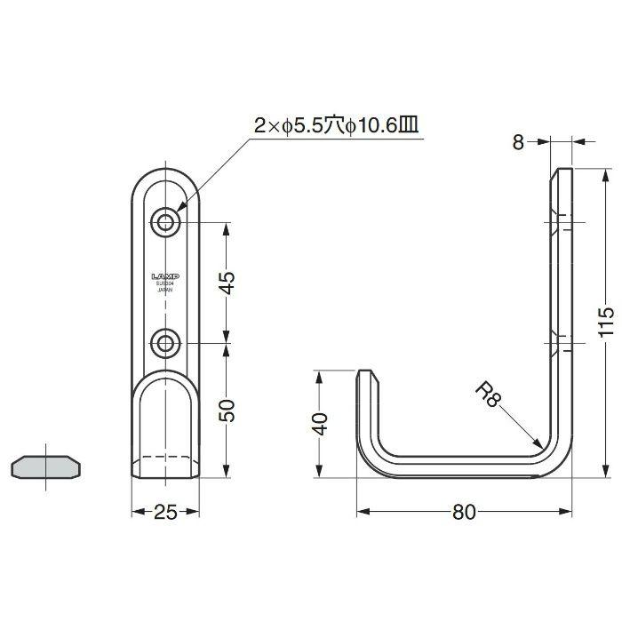 ランプ印ステンレス鋼製フック XL-SF型 XL-SF-115-S 110-020-142