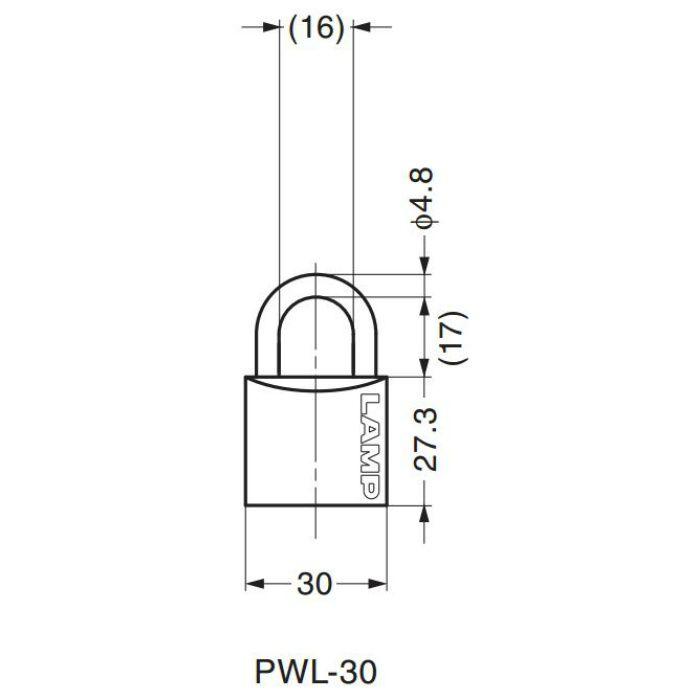 ランプ印ダブルロック南京錠PWL型 PWL-30 150-013-024