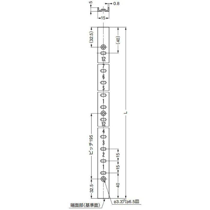ランプ印ステンレス鋼製棚柱SP型 SP-650 120-030-686