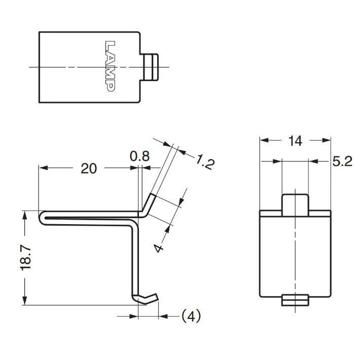 ランプ印ステンレス鋼製棚受SPF-20型 SPF-20T 120-030-117
