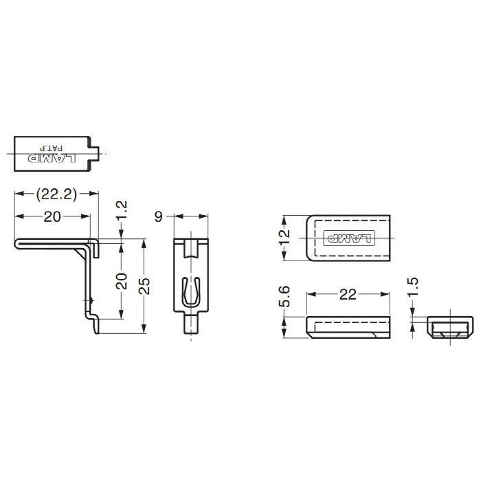 ランプ印ステンレス鋼製棚受SPE-FB20S型 SPE-FB20SWT 120-021-678